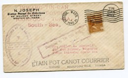 USA 1940 Boston Cover To Tonga. Inward TIN CAN MAIL - Storia Postale