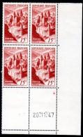 FRANCE - YT N° 792 Bloc De 4 Coin Daté - Neufs ** - MNH - Cote: 25,00 € - 1940-1949