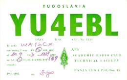 Amateur Radio QSL Card - YU4EBL Academic Radio Club - Yugoslavia - 1973 - Radio Amateur