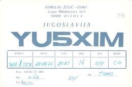 Amateur Radio QSL Card - YU5XIM - Bitola, Yugoslavia - 1976 - Radio Amateur