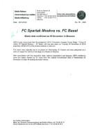 Press Iinfo Sheet Football Postponement 2002 2003 Spartak Moscow (Russia Soviet Union) V Basel (Swizerland) UEFA CL C... - Books