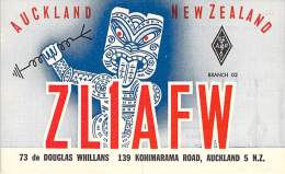 Amateur Radio QSL Card - ZL1AFW - Auckland, New Zealand - 1974 - 2 Scans - Radio Amateur