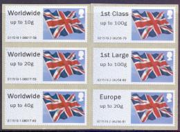 Great Britain 2012 Post & Go Union Flag Set Of 6 - Gran Bretagna