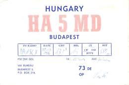 Amateur Radio QSL Card - HA5MD - Budapest, Hungary - 1976 - Radio Amateur