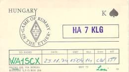 Amateur Radio QSL Card - HA7KLG Radio Club - Hungary - 1974 - 2 Scans - Radio Amateur