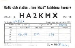 Amateur Radio QSL Card - HA2KMX Radio Club - Tatabanya, Hungary - 1974 - Radio Amateur