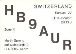 Amateur Radio QSL Card - HB9AUR - Luzern, Switzerland - 1976 - 2 Scans - Radio Amateur