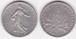 1 FRANC SEMEUSE 1910 En ARGENT SUPERBE (voir Scan) - France