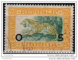 Liberia 1921, Leopard, Overprint, 25c, Used - Liberia