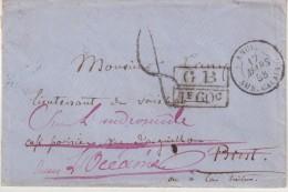 """PROVENANCE BRIT . TRANSIT """" LONDRES """" . POUR """" BREST """" . REEXP VIA LE HAVRE . EN OCEANIE . POUR ANDROMEDE . TAXEE . 1858 - Postmark Collection (Covers)"""