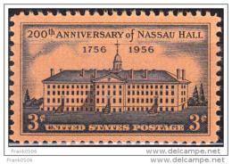 United States 1956,  Nassau Hall, Princeton University, 3c, MH - United States
