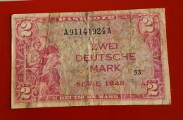 ALLEMAGNE ZWEI  DEUTSCHE MARK SERIE 1948  Voir Les 2 Photos - 2 Deutsche Mark