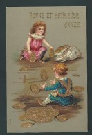 Bonne Année. Enfants Jouant Avec Des Pièces D'or. Monnaie, Porte-bonheur. Litho Gaufrée, Embossed. 2 Scans - Monnaies (représentations)