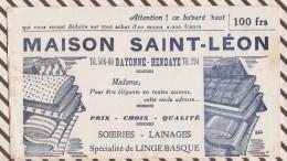 398 BUVARD  MAISON SAINT LEON BAYONNE HENDAYE SOIRIES LAINAGES LINGE BASQUE - Kleidung & Textil