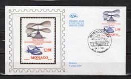"""MONACO 2007 : Enveloppe 1er Jour En Soie """" 100 ANS DU 1er VOL DE L´HELICOPTERE DE M. LEGER """" N° YT 2597. Parf. état. FDC"""