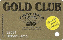 First Gold Hotel Casino - Deadwood, SD - Slot Card - Crinkled Dark Gold Surface - Casino Cards