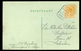 HANDGESCHREVEN BRIEFKAART Uit 1925  TREINSTEMPEL GOUDA - 's-GRAVENHAGE Naar SCHIEDAM  (10.473k) - Periodo 1891 – 1948 (Wilhelmina)