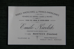 Carte De Visite De Mr NICOLET, Propriétaire Récoltant De Vins à MONTEUX - Visiting Cards