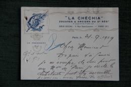 Carte écrite Du Président De La CHECHIA, Zouaves Et Anciens Du 3 ème Régiment, 1919, - Visiting Cards