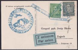 Ljubljana Airport Opening, Commemorative Card, Flight To Zagreb, 1933 - 1931-1941 Kingdom Of Yugoslavia