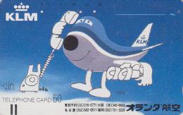Télécarte Ancienne Japon / 110-8156 - AVION KLM - JAPAN Front Bar Phonecard / A - FLUGZEUG Balken TK - Aviation 2051 - Avions