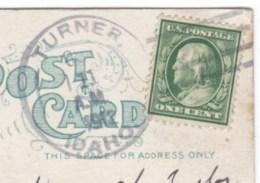 Turner Idaho, Caribou County DPO-3 Cancel Postmark On 1910s Vintage Postcard - Postal History