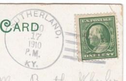 Sutherland Kentucky DPO-3 Closed Post Office Cancel Postmark On 1910s Vintage Postcard - Postal History
