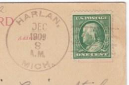 Harlan Michigan, DPO-2 Manistee County Closed Post Office Cancel Postmark On 1900s Vintage Postcard - Postal History