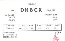 Amateur Radio QSL Card - DK8CX - Munchen, Germany - 1975 - Radio Amateur
