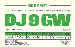 Amateur Radio QSL Card - DJ9GW - Herrsching, Germany - 1976 - Radio Amateur