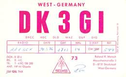 Amateur Radio QSL Card - DK3GI - Stockstadr, Germany - 1976 - Radio Amateur