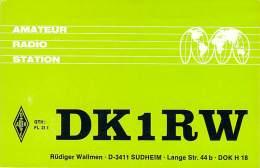 Amateur Radio QSL Card - DK1RW - Sudheim, Germany - 1975 - 2 Scans - Radio Amateur