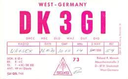 Amateur Radio QSL Card - DK3GI - Stockstadr, Germany - 1975 - Radio Amateur