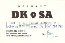 Amateur Radio QSL Card - DK9SA - Stuttgart, Germany - 1974 - 2 Scans - Radio Amateur