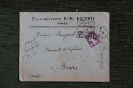 Enveloppe Timbrée Publicitaire - NIMES - Etablissements E.M REISER. - Francia