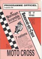 76 - BEAUVAL EN CAUX - MOTO CROSS - Programme Offiiel - 1987 - Moto
