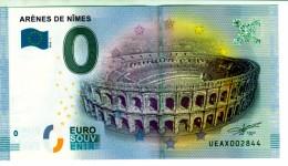 Billet Touristique 0 Euros Souvenir Arênes Nimes UEAX002844  (mauvaise Couleur Au Scan) - Essais Privés / Non-officiels