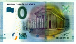 Billet Touristique 0 Euros Souvenir Maison Carrée  Nimes UEEJ001583  (mauvaise Couleur Au Scan) - Essais Privés / Non-officiels