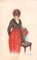 """04648 """"RITRATTO FEMMINILE"""" LIBERTY - GIOVANE SIGNORA CON ROSE - FIRMATA MILIOTTI -  CART SPED 1920 - Moda"""