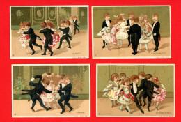 Au Bon Marché, Série Complète 6 Chromos Lith. Vallet Minot VM-24 Danses En Tenue De Soirée - Au Bon Marché