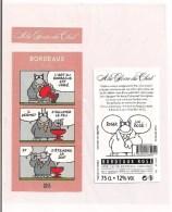 """Etiquette Décollée """" A La Gloire Du Chat """" - Geluck - 2015 - Bordeaux Rosé - Contre étiquette, Bouchon, Capsule  - - Bordeaux"""