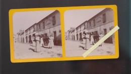 """Photo Stéréo - Circa 1890 - """" Station à Haute Goulaine Devant Le Restaurant Au Cheval Blanc, A.Chabineau - Photos Stéréoscopiques"""