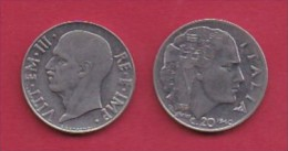 ITALY, 1940, 1 Circulated Coin Of  20 Centesimi, Reeded Edge, St/St, Non Magnetic, XVIII, KM 75d, C3048 - 1861-1946 : Kingdom