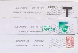 Toshiba 39376A-00002 LA POSTE ..... 39376A-02 Et 39376A-02  FRANCE Nouvelle Présentation Du 08-07-16 - Maschinenstempel (Sonstige)