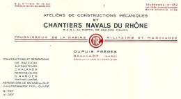30 BEAUCAIRE CHANTIERS NAVALS RHONE FACTURE DUPUIS - France