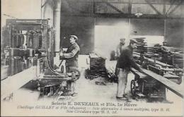 CPA Le Havre Métier Usine Scierie Bois DEVEAUX Non Circulé Outillage GUILLET AUXERRE - Other