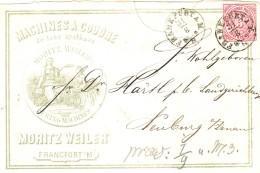 Dt. Reich Norddt. Postbezirk Nr. 21 EF Auf Firmen- Brief Von Frankfurt (Main) Um 1870 N. Neuburg (Donau) - Norddeutscher Postbezirk