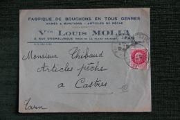 Enveloppe Timbrée Publicitaire - PAU, Fabrique De Bouchons , Armes Et Munitions , Vve Louis MOLLA - Lettres & Documents
