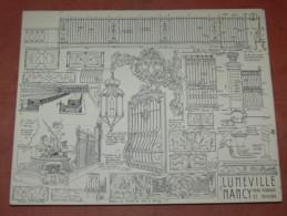 LUNEVILLE / NANCY  ARCHITECTURE/ 1CROQUIS LAPRADE DE 1940 / FERS FORGES DU CHATEAU  / PLACE LA CARRIERE  /   31X24 CM - Architecture