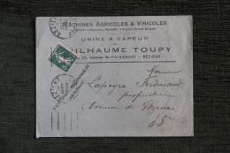 Enveloppe Timbrée Publicitaire -  BEZIERS - Guilhaume TOUPY, Usine à Vapeur, 23 Avenue Du Fer à Cheval - Francia